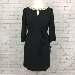Tahari Pearl Neck Belted Dress, Size 12